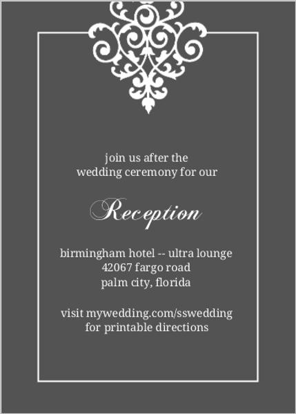 Gray And Elegant White Flourish Reception Card Template