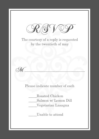 Wedding Response Cards Gray And Elegant White Flourish Card