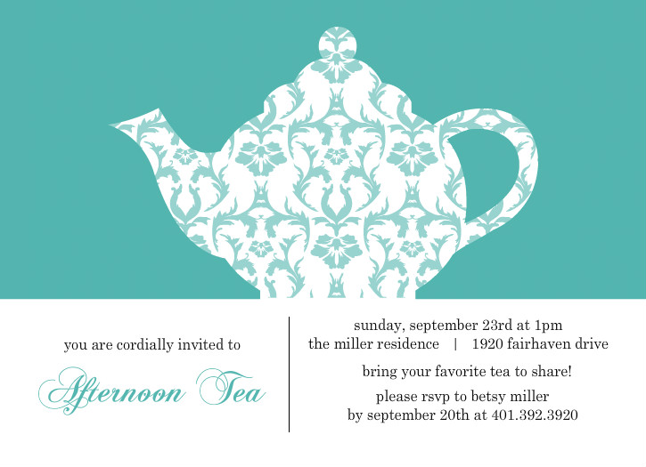 turquoise damask tea party invitation template