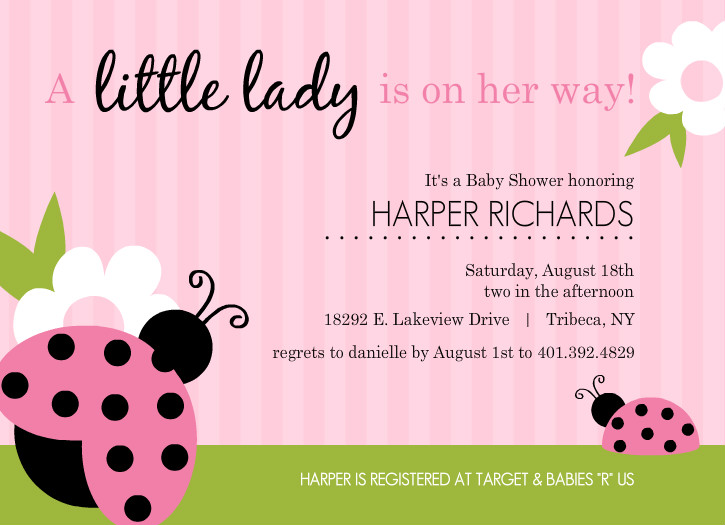 pink and green ladybug girl baby shower invitations template