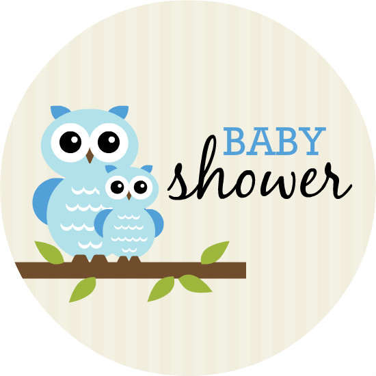 blue whimsical owls boy baby shower invitation template