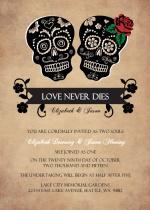 Day of the Dead Skulls  Halloween Wedding Invitation