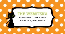 Orange Polka Dot Witch Halloween (Set) Address Label