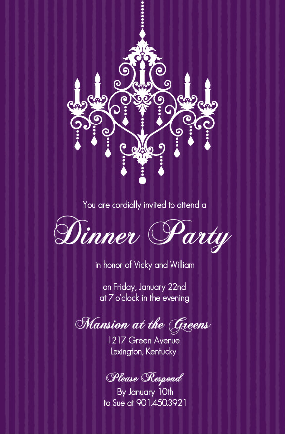 dinner party invitations purple chandelier dinner party invitation. Black Bedroom Furniture Sets. Home Design Ideas