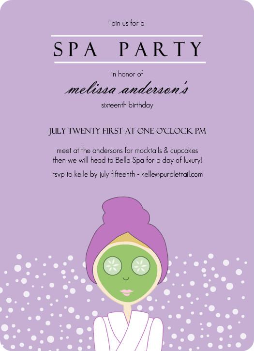 Purple Spa Girl Birthday Party Invitation Template
