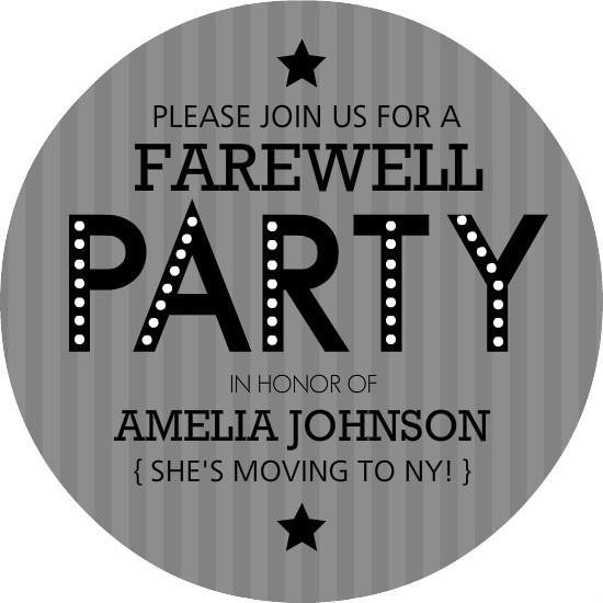 Gray Stripe Farewell Party Invite