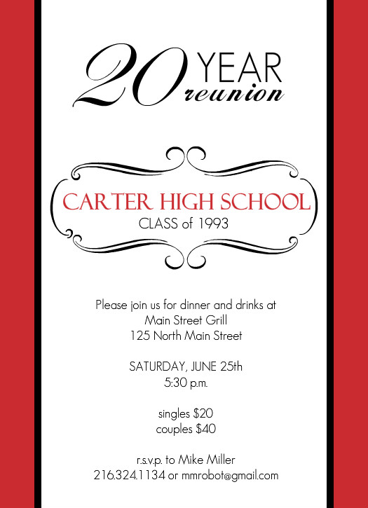 Classic red and white 20 year class reunion invitation for Class reunion program template