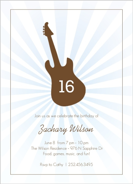 Brown and Blue Guitar Birthday Invitation