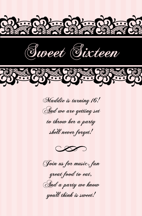 Sweet Sixteen Invitations - Pale Pink with Black Lace Sweet Sixteen Invitation