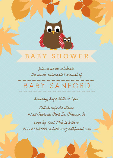 baby shower invitations fall mom and baby owl baby shower invitation