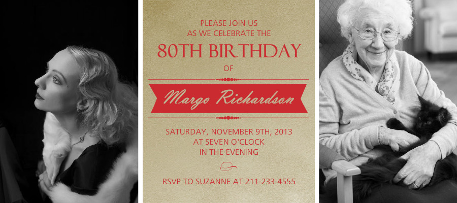 90th Birthday Invitations - Elegant Gold and Red 90th ...