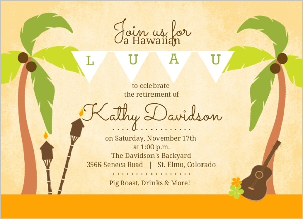 Hawaiian Invitation Template as perfect invitation design