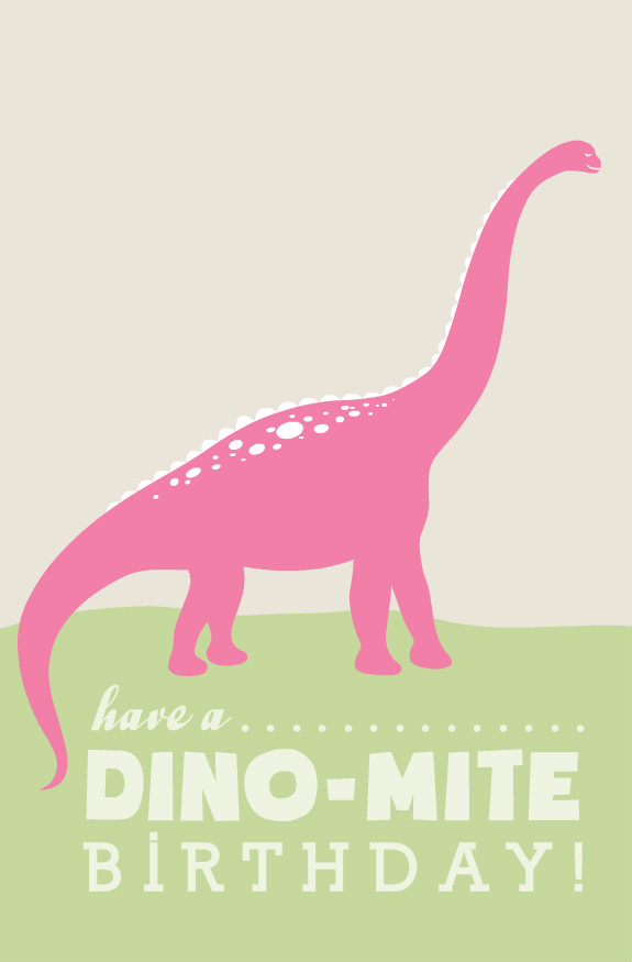 Birthday Greeting Cards - Rawr Pink Dinosaur Birthday Card