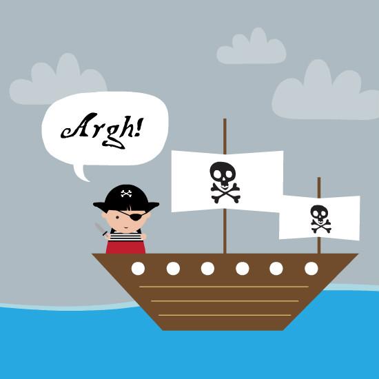 Birthday Greeting Cards - Speech Bubble Pirate Ship Birthday Card