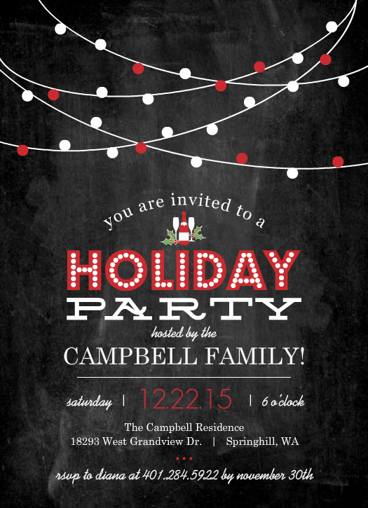 Red Streaming Lights Chalkboard Holiday Party Invitation