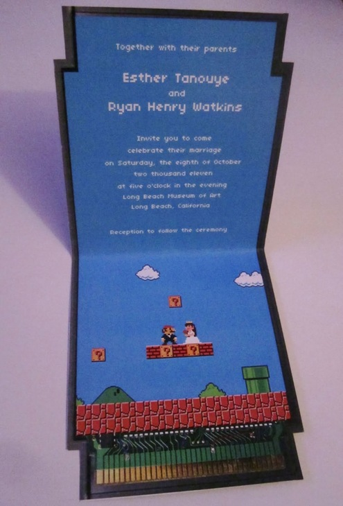 Super Mario Bros themed wedding invitation and buddy did he ever