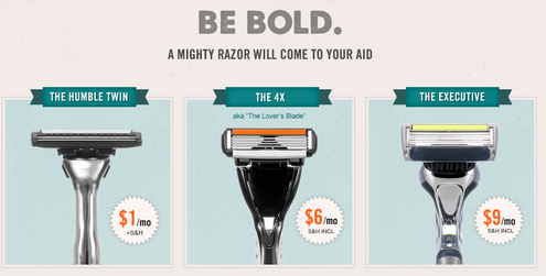 Dollar Shave Club razor pricing options