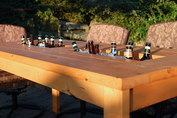 how to make a diy outdoor table with a built in cooler