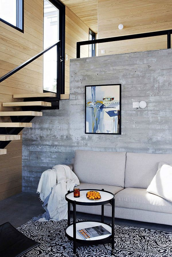 Exposed concrete wall via Homedit [http://www.homedit.com/contemporary-summer-house-by-filter-arkiteketer/]