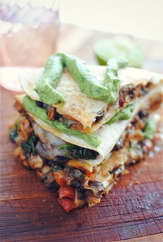 Tempeh quesadillas via Bev Cooks [http://bevcooks.com/2012/06/tempeh-and-black-bean-quesadillas/]