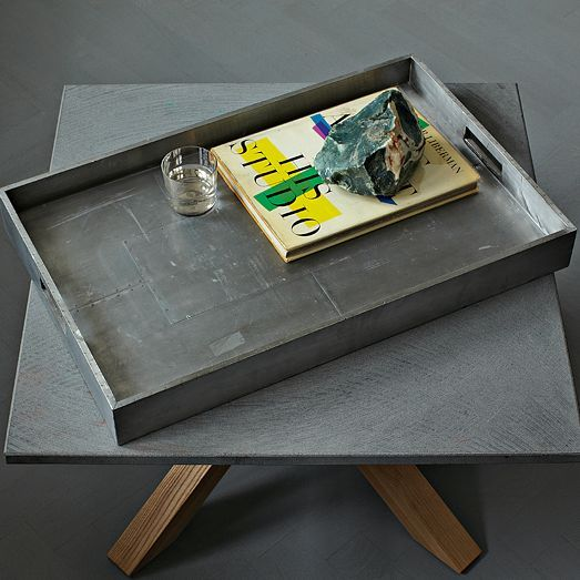 METAL-WRAPPED WOOD TRAYS