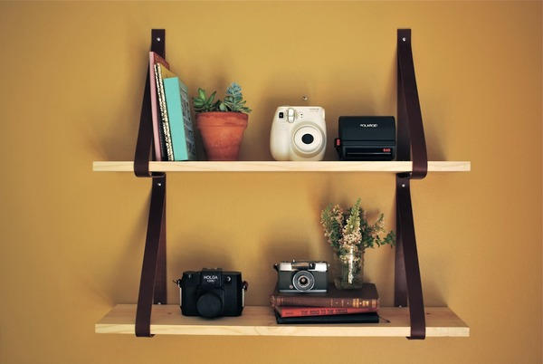 Leather Strap Shelf DIY