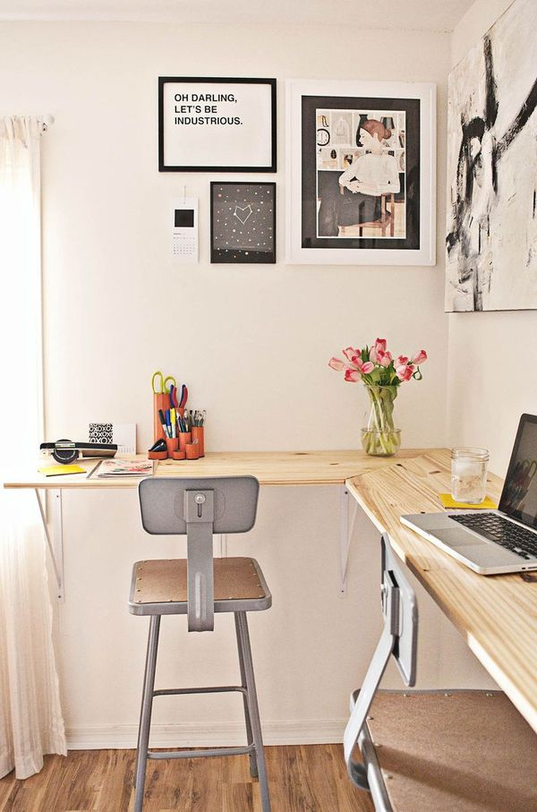 a new twist on the diy standing desk how to build a wall mounted work station man made diy. Black Bedroom Furniture Sets. Home Design Ideas