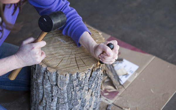 How To: Make a DIY Tree Stump Side Table