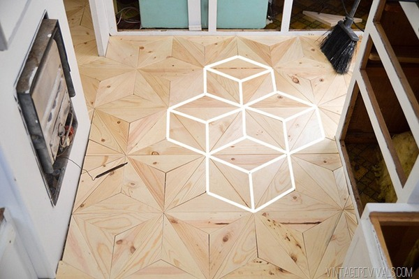 Geometric wood flooring