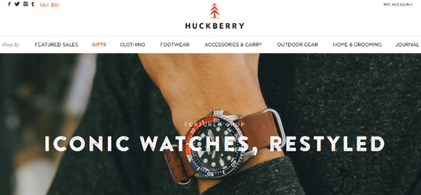 Huckberry Site Opening Page