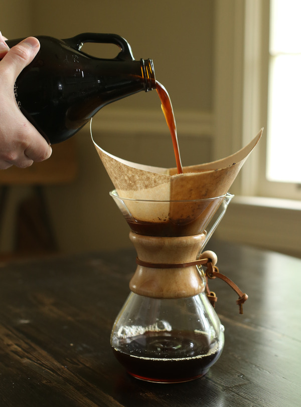 filtering coffee into a carafe