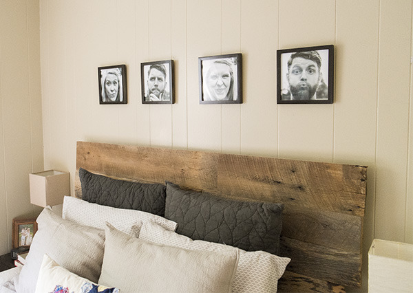 upgrade your headboard with modern black and white photos