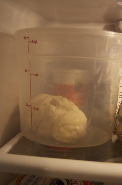 Dough goes in an air tight container.