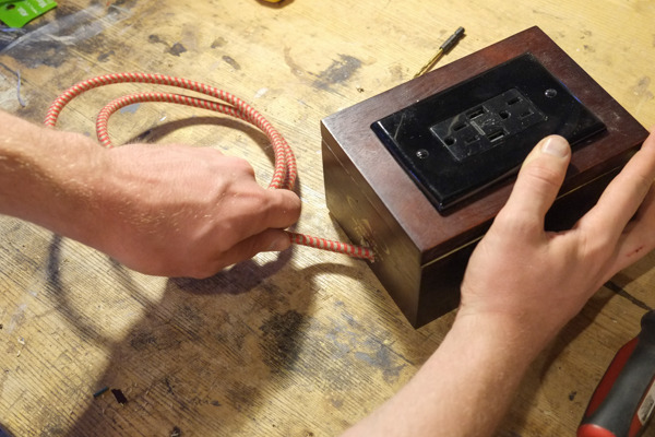 Hack and old cigar box into a vintage charging station