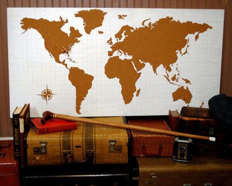 Cork-board-wall-world-map