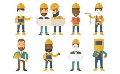 Profissionais da construção