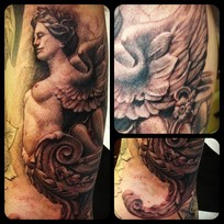 Virgin mary nude tatoos hair blue