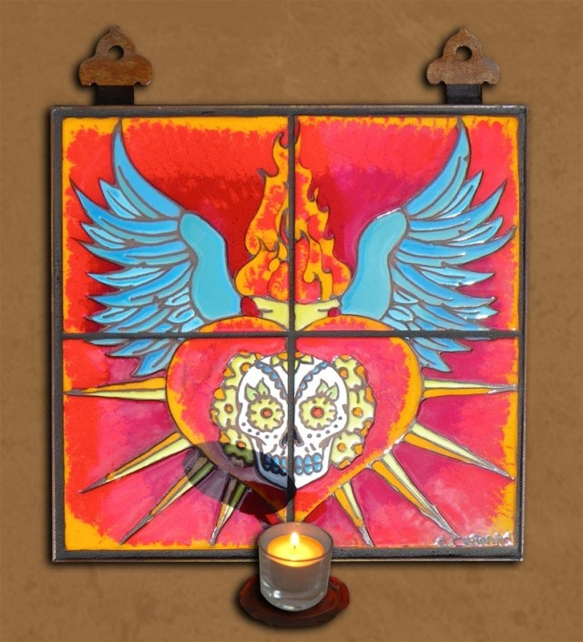 Day of the Dead Sacred Heart Candelabra Tile Mural by Carly Quinn Designs at CustomMade.com