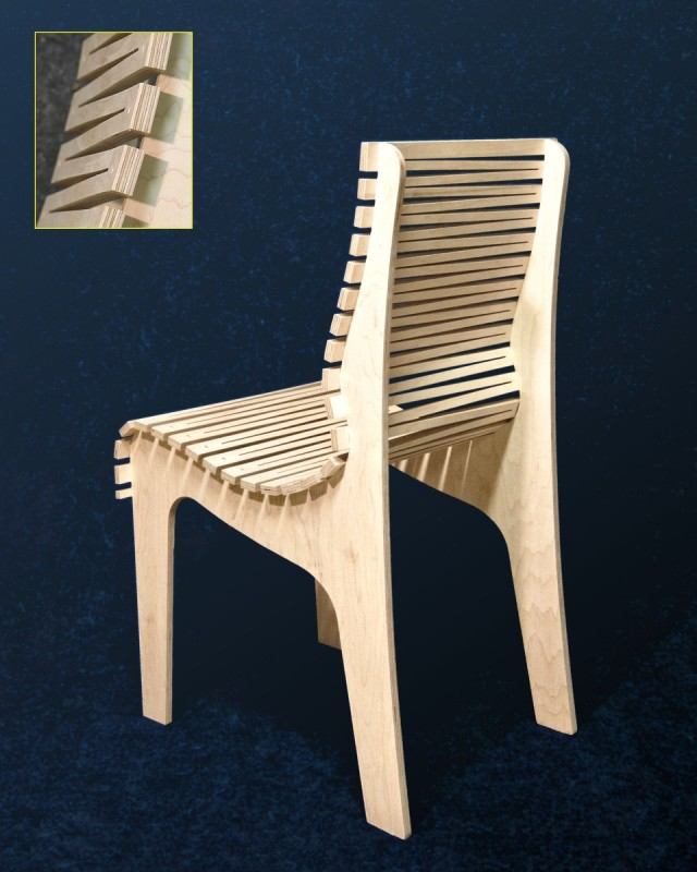 "The ""ZigZag"" Ergonomic Chair, Rear View and Close-up, by Randy Weersing Furniture Designs at CustomMade.com"