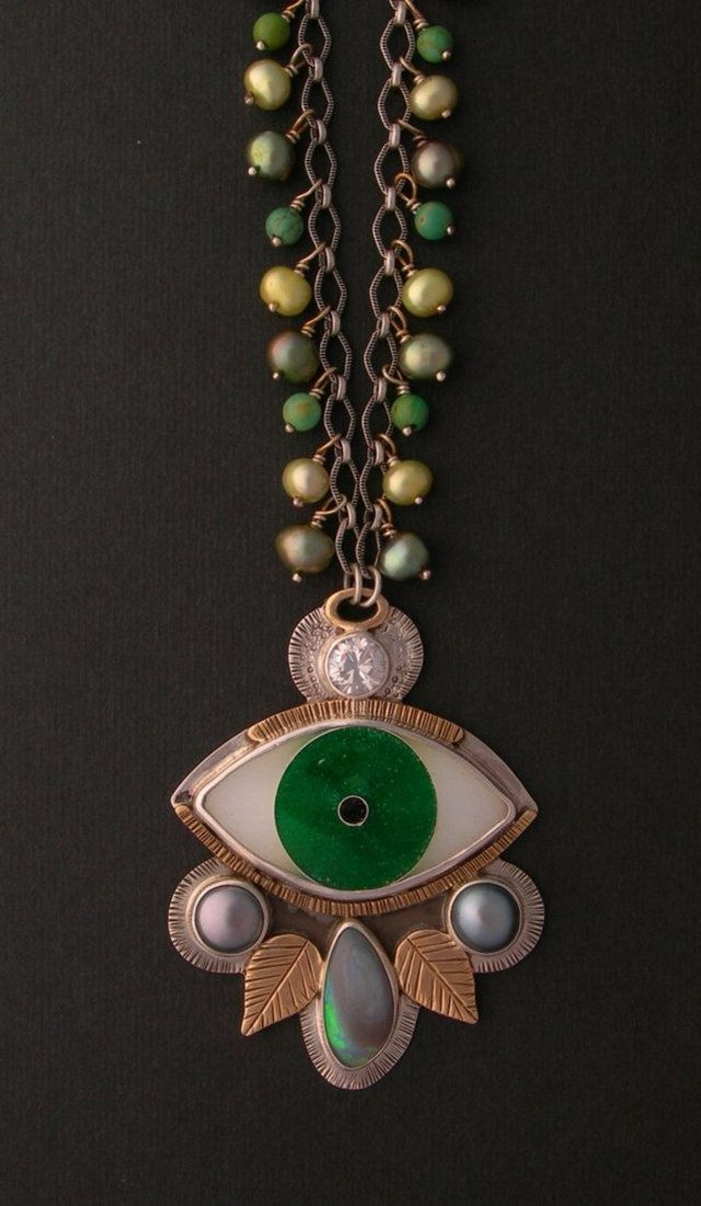 Evil Eye Cloisonne Necklace-Garden of Eden by Julie Glassman Enamel Jewelry on CustomMade.com