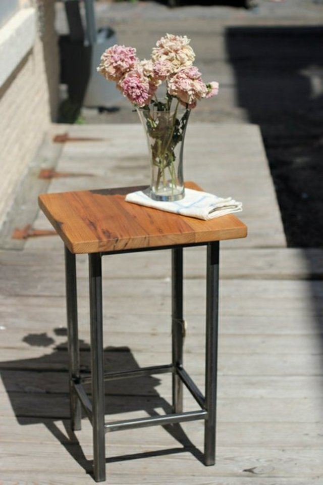 Reclaimed Chestnut and Metal Square End Table by Vermont Farm Table at CustomMade.com