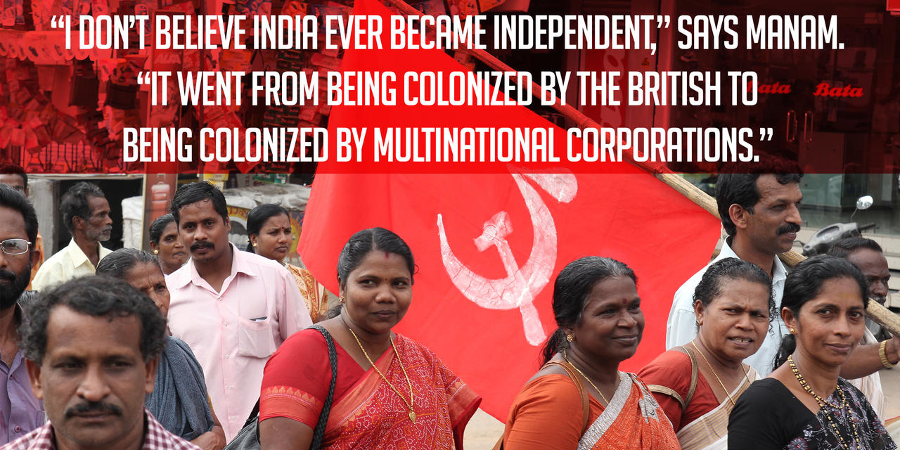 """A communist banner is carried during a pro-farmers march through Thiruvananthapuram, India, in 2011.<span class=""""_Credit"""">Photo by Johan Bichel Lindegaard/Flickr, CC BY.</span>"""