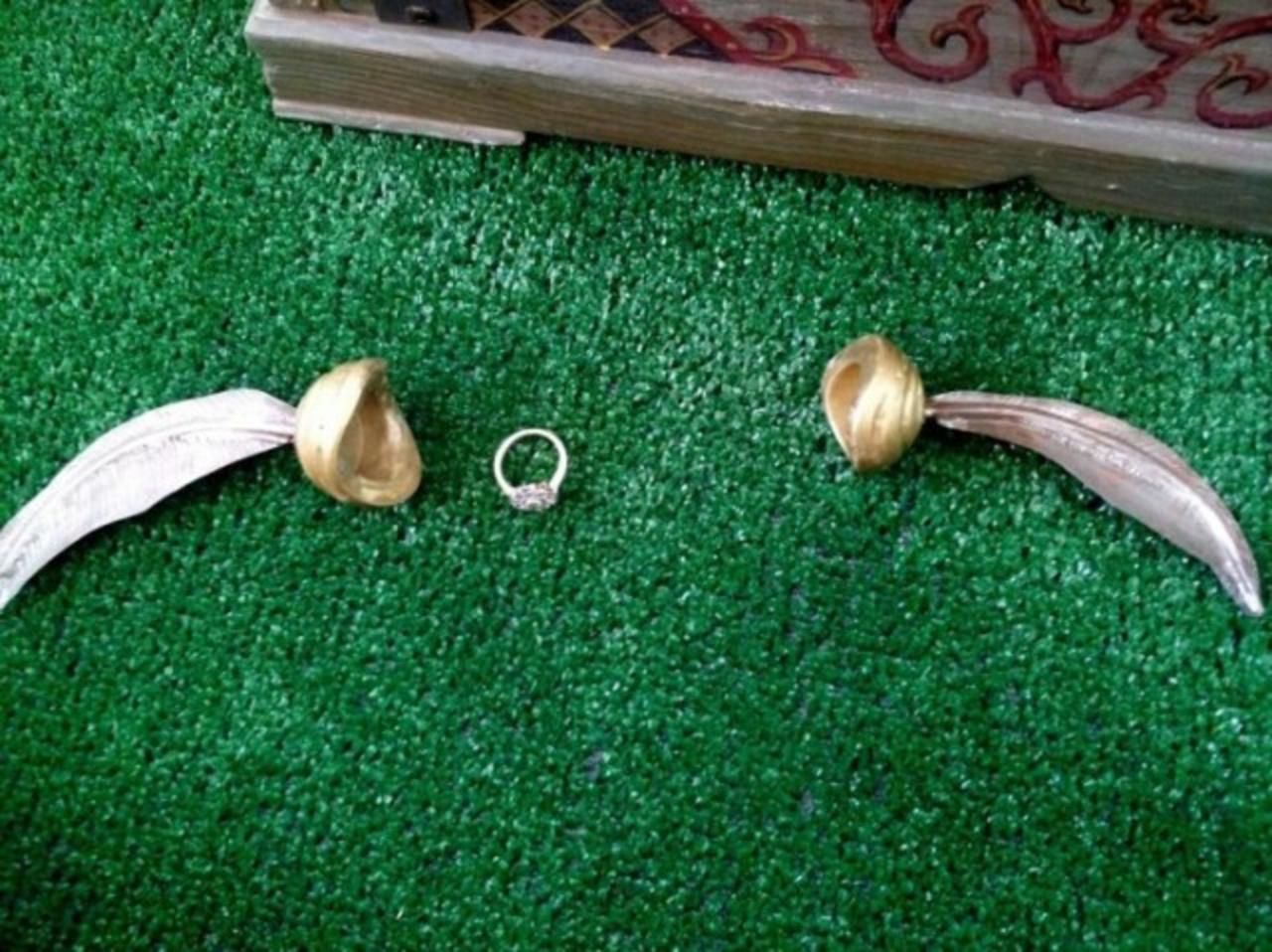 The Snitch opened up to hold the engagement ring, which was also created on CustomMade by Jim Grahl.