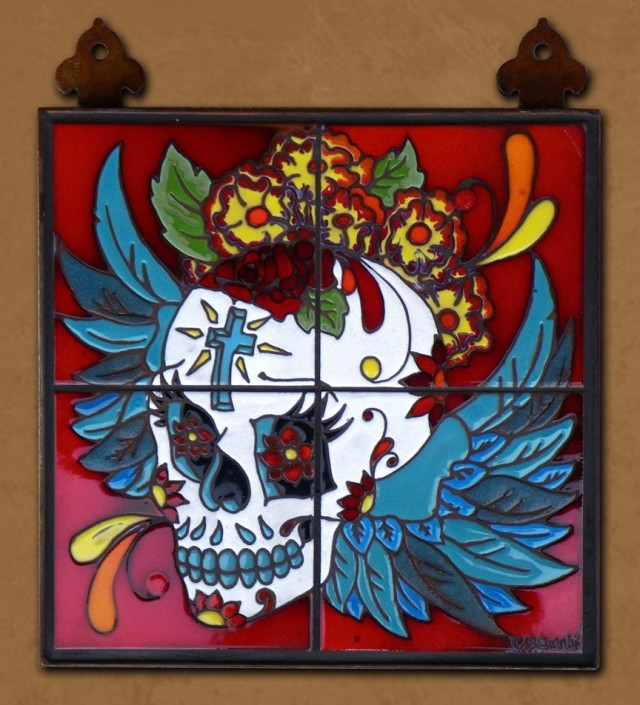 Day of the Dead Winged Skull Tile Mural by Carly Quinn Designs at CustomMade.com