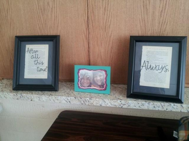 Rachel cut out two pages from the books, one about Quidditch and one from an infamous Snape moment. The decorated frames with a memorable quote will now hang as decor in Rachel and Jaquie