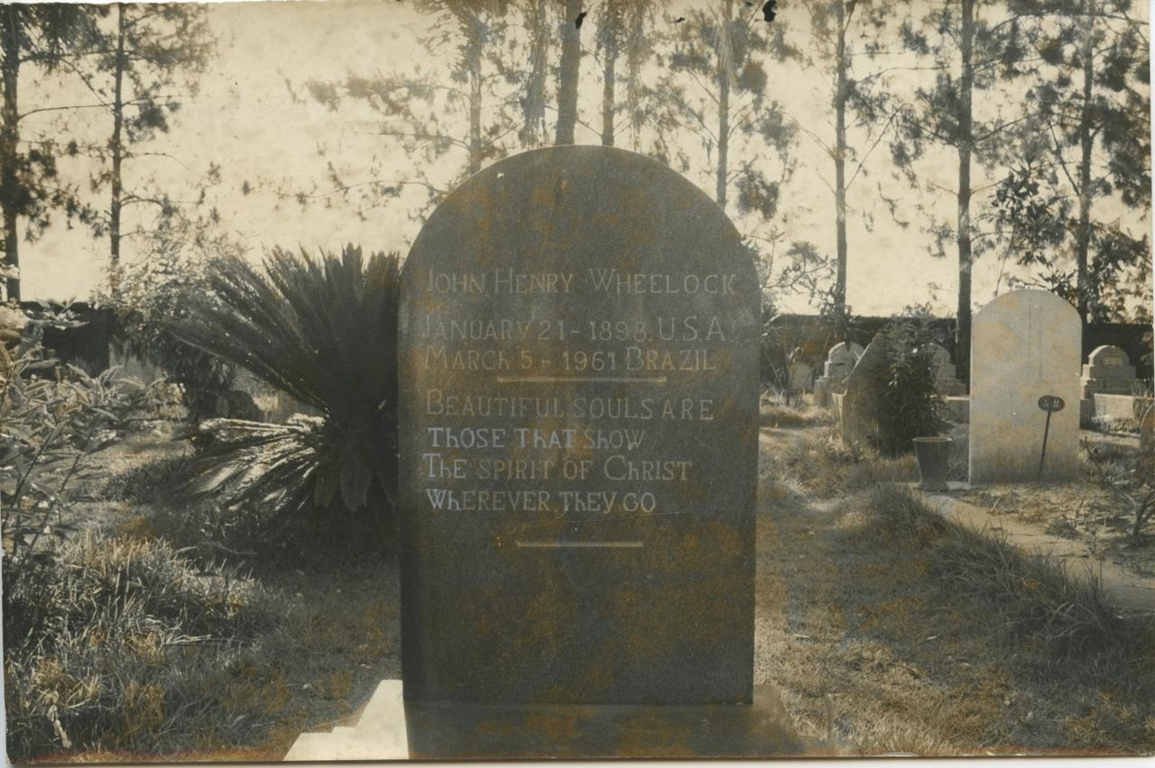 Headstone of one of the 440 graves at the Americana cemetery. Wheelock, born in the U.S. in 1898, was a relatively late arrival to the Confederate outpost in Brazil. (Photo courtesy Stephen G. Bloom)