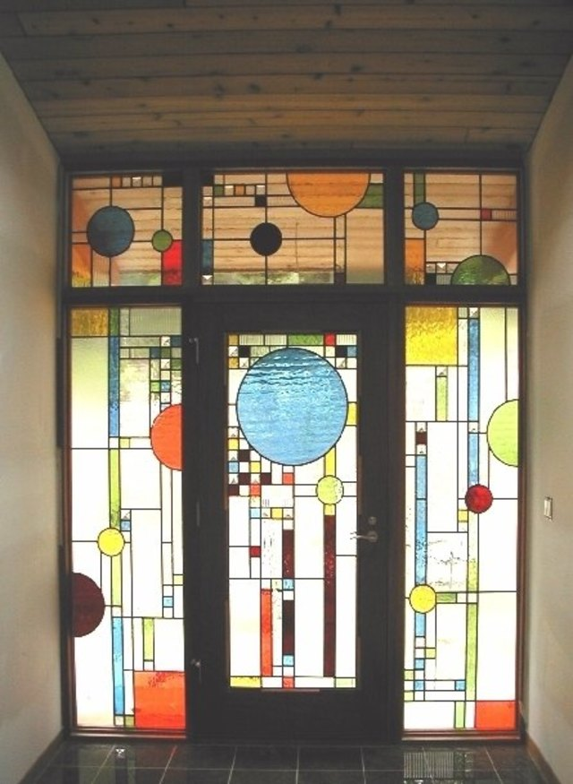 Coonley Playhouse Inspired Front Entry by Pompei & Company Stained Glass at CustomMade.com