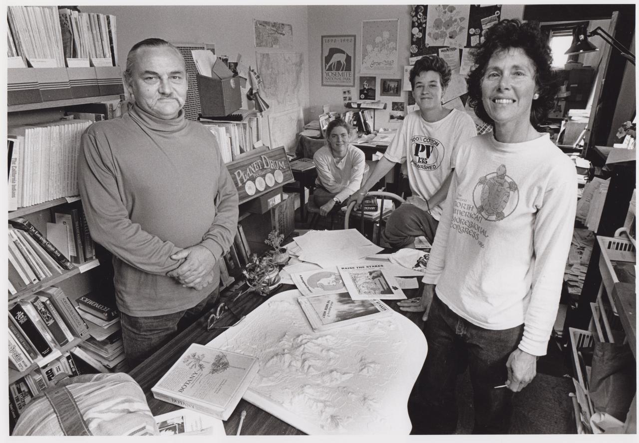 Berg with colleagues at the Planet Drum office in the 1990s.