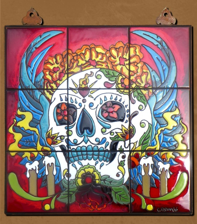 Large Day of the Dead Altar with Wings Tile Mural by Carly Quinn Designs at CustomMade.com