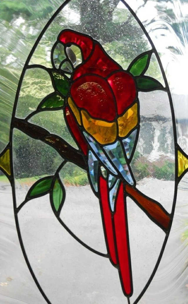 Red Parrot in Paradise by Pompei & Company Stained Glass at CustomMade.com